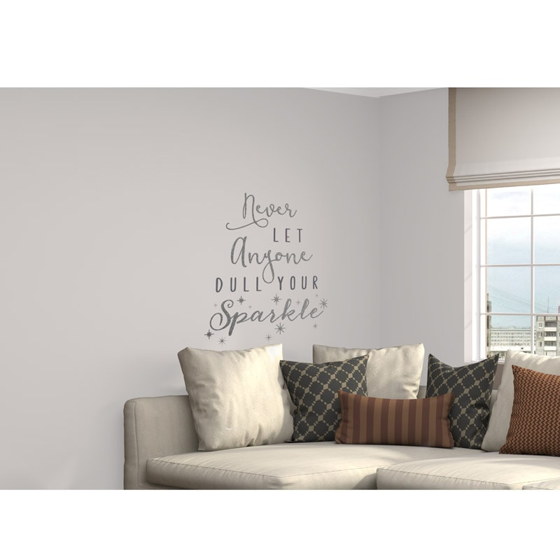 glitter wall sticker never let anyone dull your sparkle silver main street wall creations dandelions amp butterflies