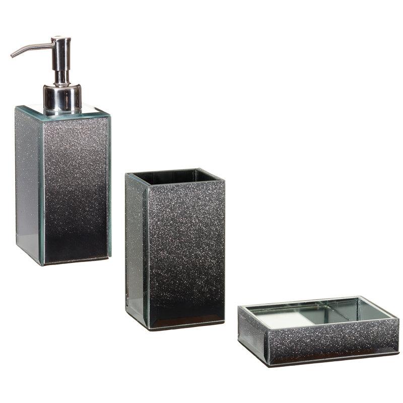 Glitter ombre soap dispenser bathroom accessories b m for Black and silver bathroom decor