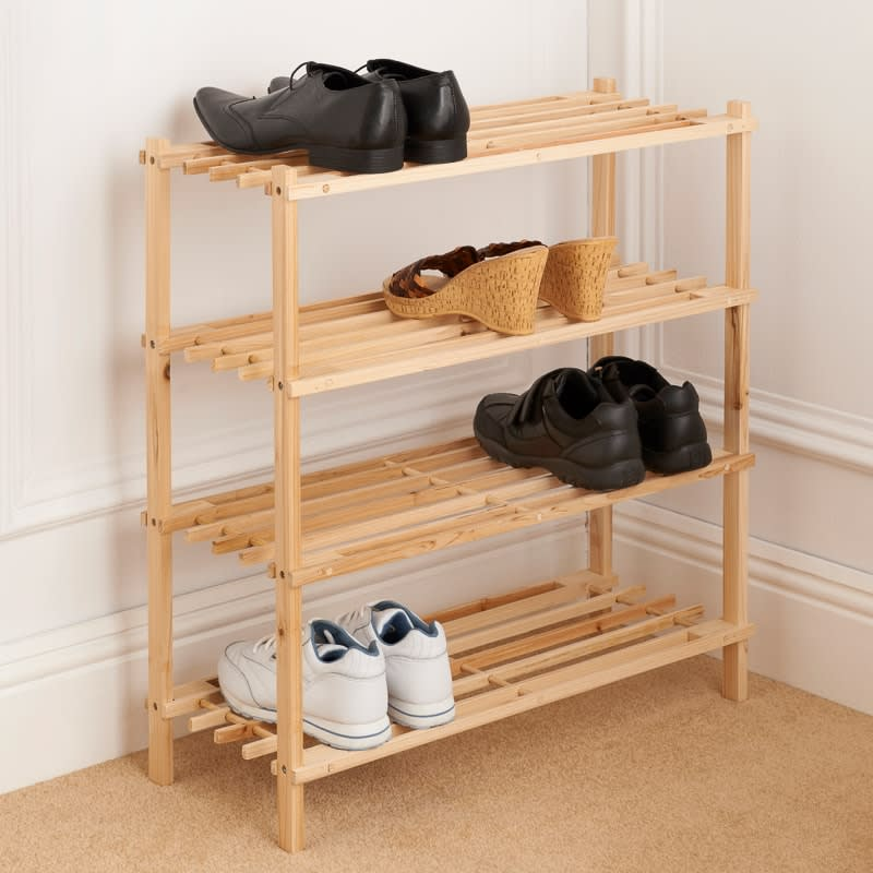 4 Tier Wooden Shoe Rack Storage Shelving B Amp M