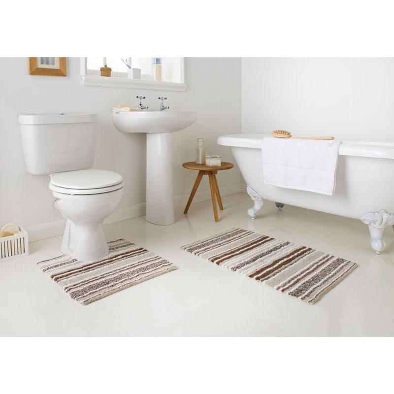 Bathroom Mat Sets | Newbury Stripe Spray Latex Back Bath Set 2pc Bathroom B M