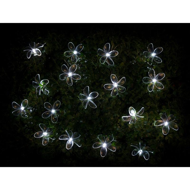 24 Solar Led Flower String Lights White