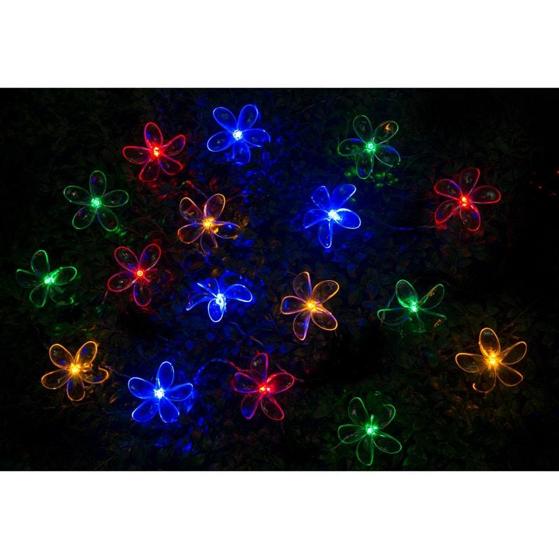 24 Solar Led Flower String Lights Multicolour Garden B Amp M