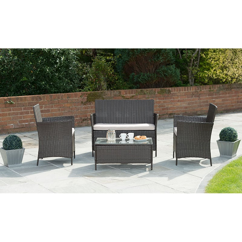 Venice Rattan Effect Sofa Set 4pc Garden Furniture