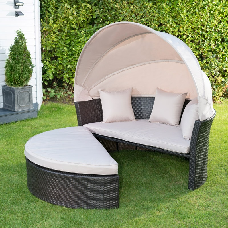 Venice Rattan Hooded Day Bed Garden Furniture B Amp M