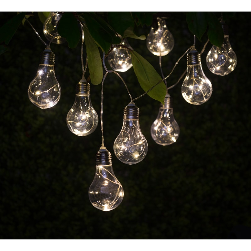 Solar powered patio lights string
