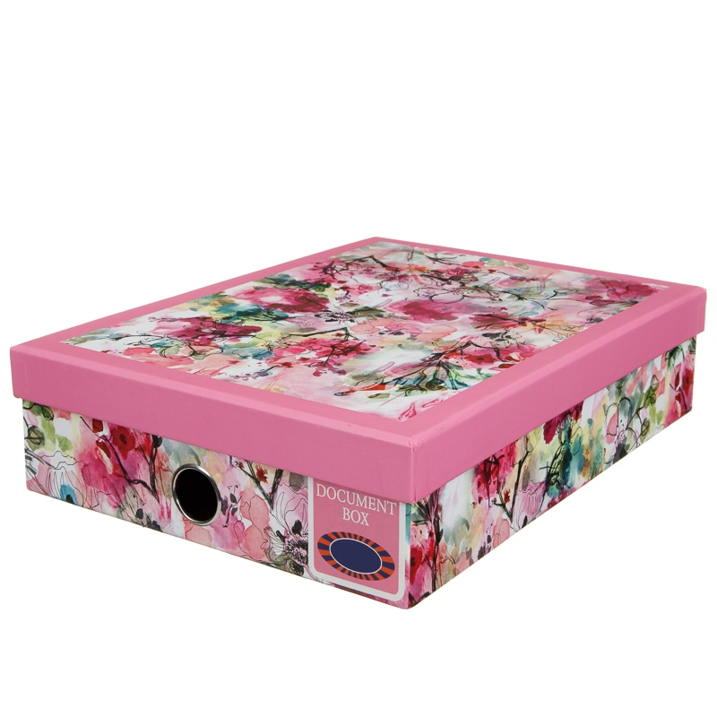 Decorative Document Boxes Enchanting A4 Document Box  Floral  Stationery  B&m Decorating Design