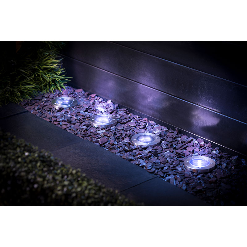 Outdoor Solar Lights In Ground: Stainless Steel Ground Lights 4pk