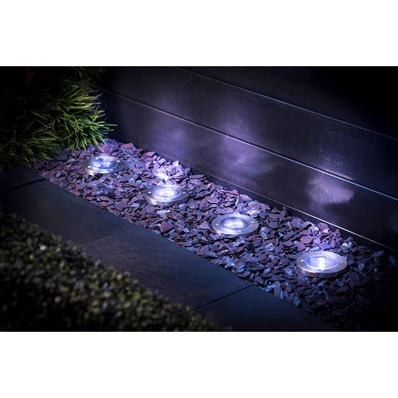 Stainless Steel Ground Lights 4pk Garden Solar Lighting