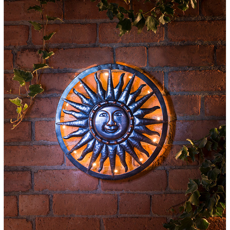 Solar Sun Metal Wall Art Garden Solar Lighting B Amp M