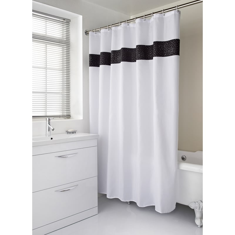 black and white bathroom shower curtain diamante shower curtain home bathroom b amp m 25113