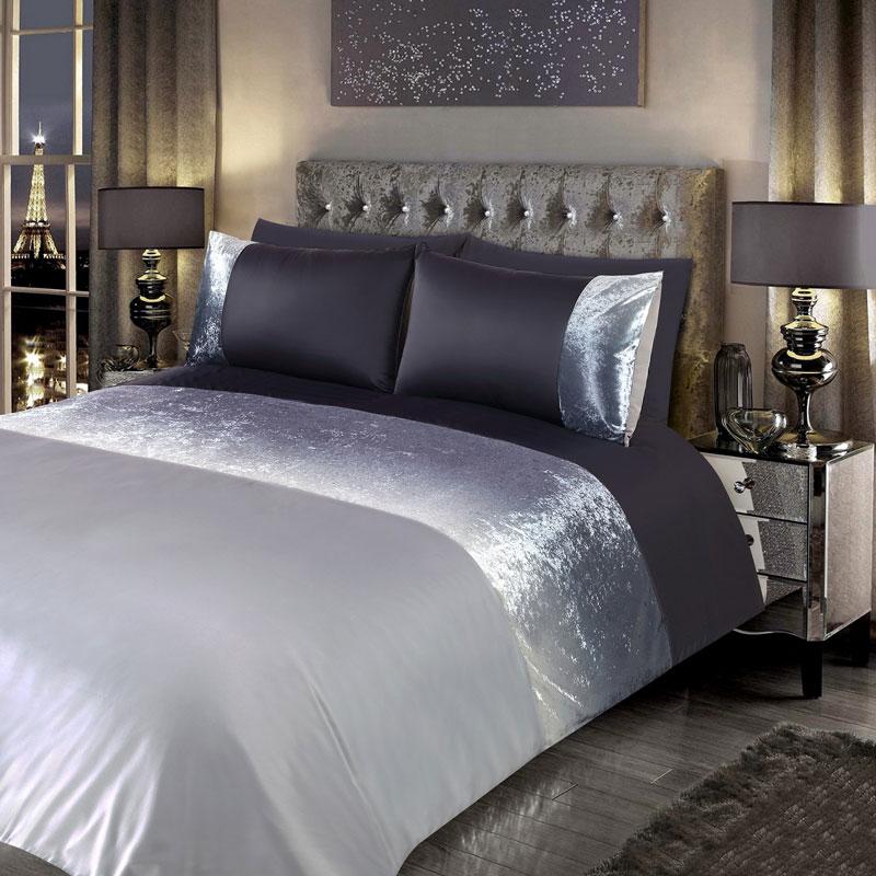 Ombre Crushed Velvet Double Duvet Set Bedding B Amp M Stores