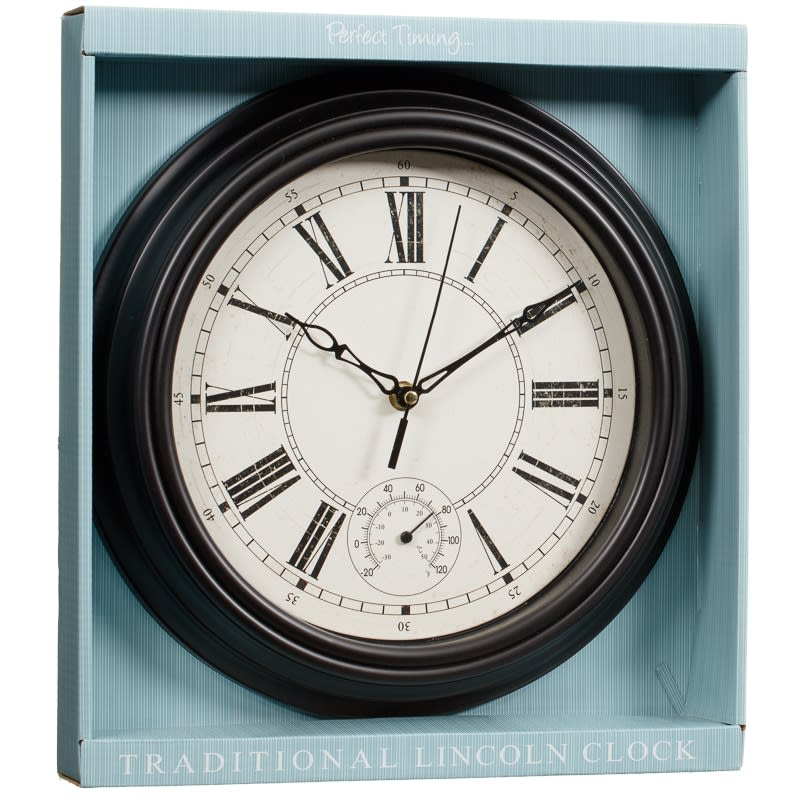 Traditional Lincoln Wall Clock Black Home Decor B Amp M