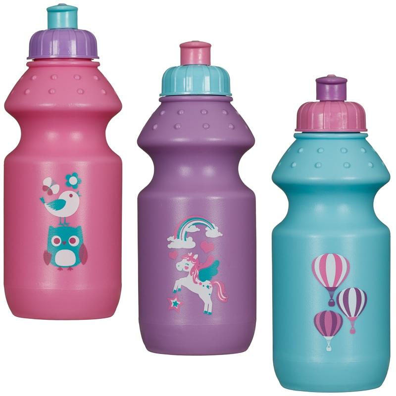 Best Sports Bottle Uk: Children's Pull Top Sports Bottles 3pk - Girls