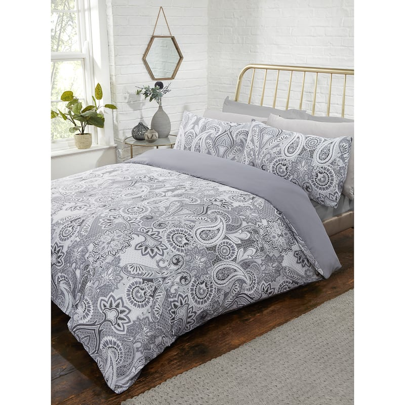 Metallic Paisley Double Duvet Set Bedding Duvet Covers