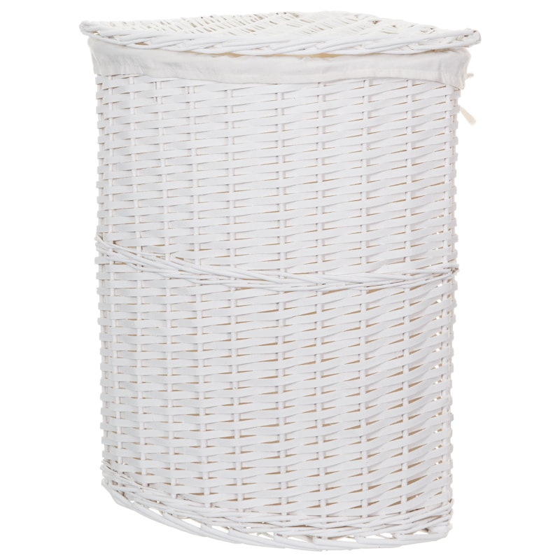 Corner Wicker Laundry Basket - White | Laundry Hampers - B&M