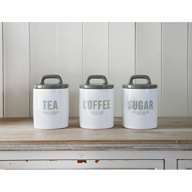Retro Tea Coffee Sugar Set 3pc Grey Kitchenware