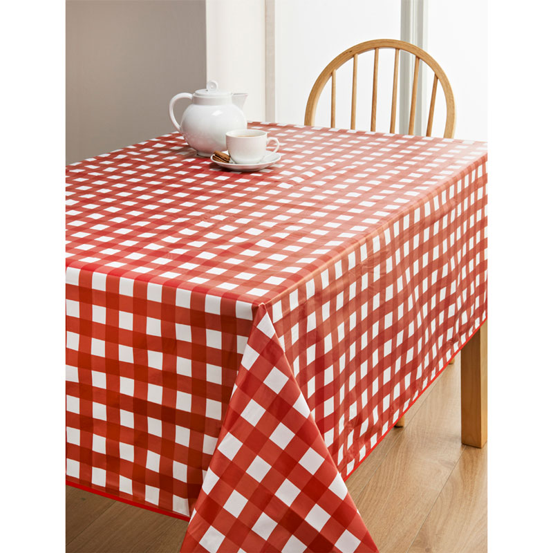 PVC Wipe Clean Tablecloth - Red Spots   Kitchen - B&M