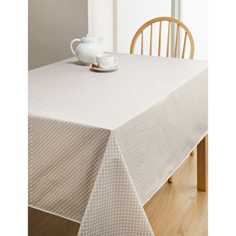 Pvc Wipe Clean Tablecloth Taupe Spots Kitchen B Amp M