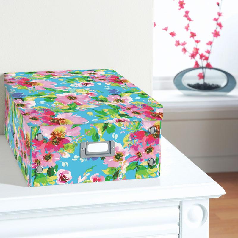 Floral Paper Storage Box Large Bright Floral B M