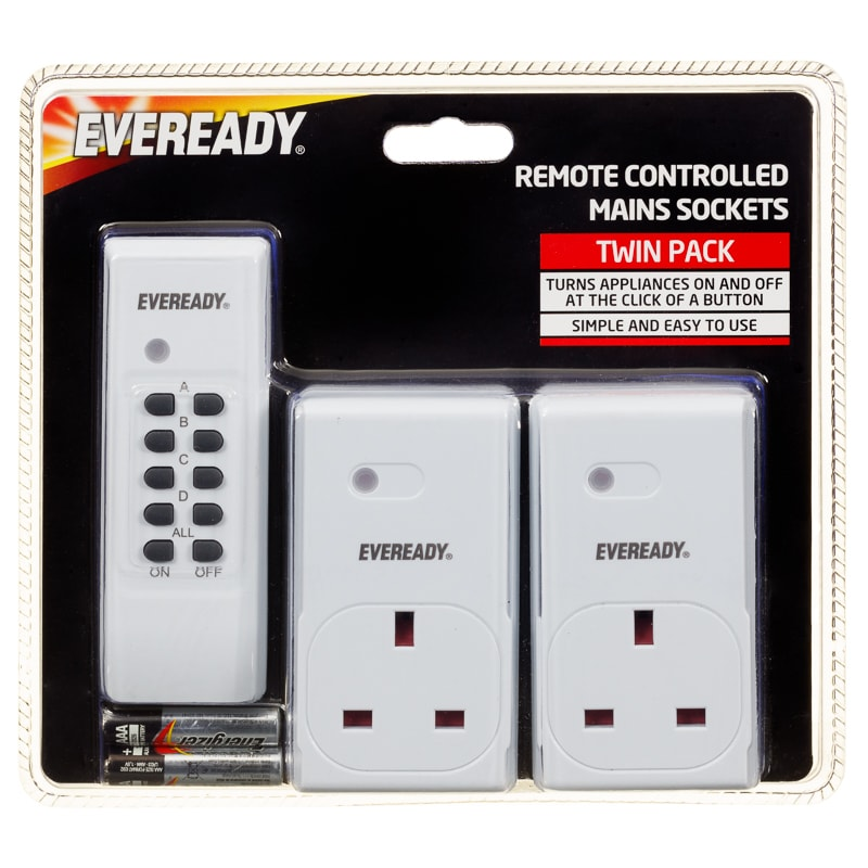 Eveready Remote Control Mains Sockets 2pk