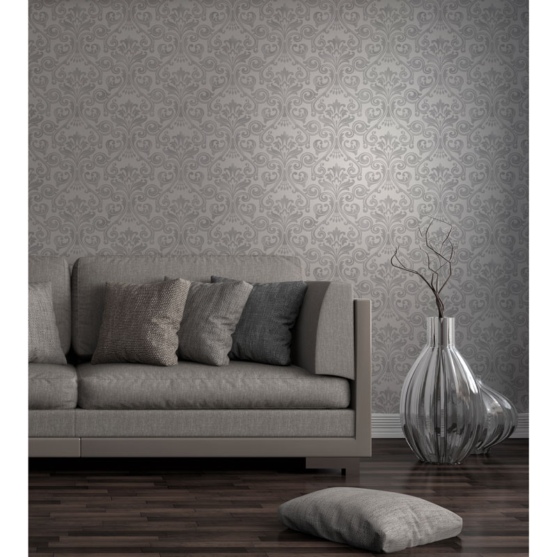 Fine decor wentworth damask wallpaper grey decorating for Grey and silver wallpaper living room