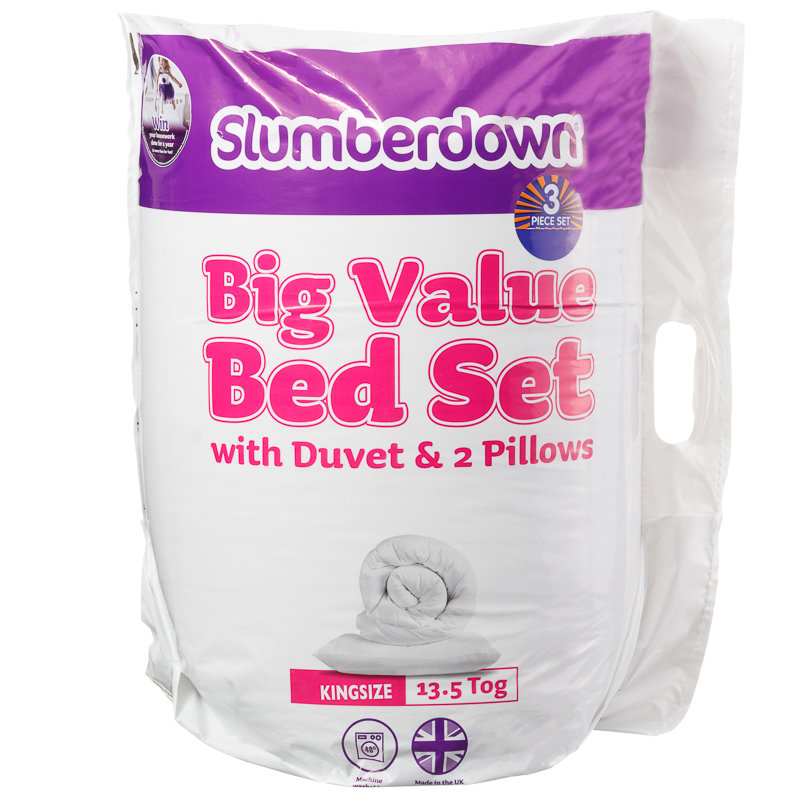 Slumberdown big value 13 5 tog bed set king bedding for How big are king size pillows