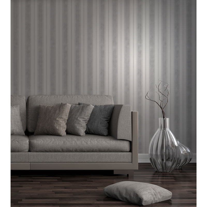 Fine decor wentworth stripe wallpaper grey decorating for Grey silver wallpaper living room