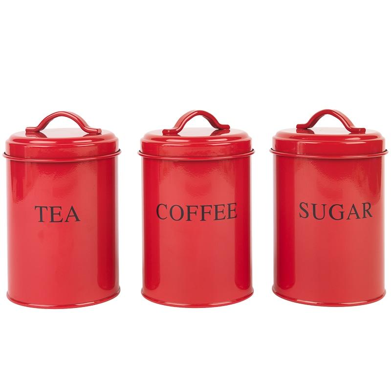 Tea Coffee Amp Sugar Set Red Kitchenware B Amp M Stores