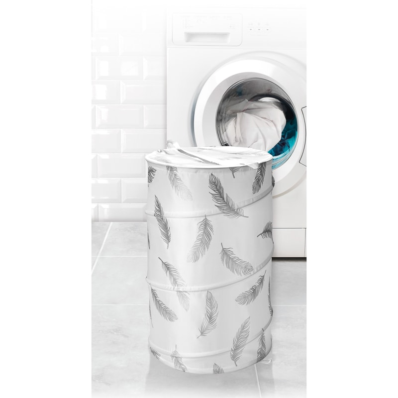 Beldray Pop-Up Laundry Hamper - Silver Feathers