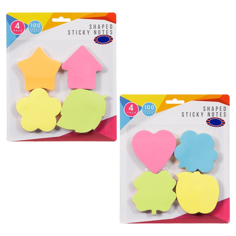 Shaped Sticky Notes 4pk Stationery Office Accessories