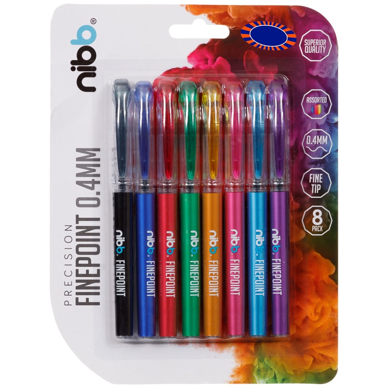 NIBB Finepoint Pens 8pk - Assorted