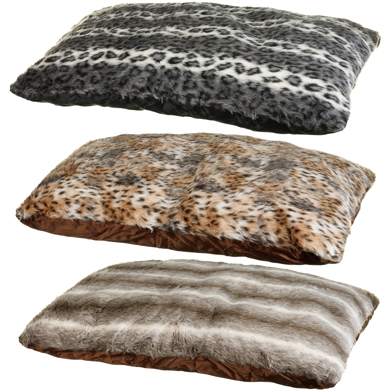 Animal Print Faux Fur Pet Bed - Grey Stripe