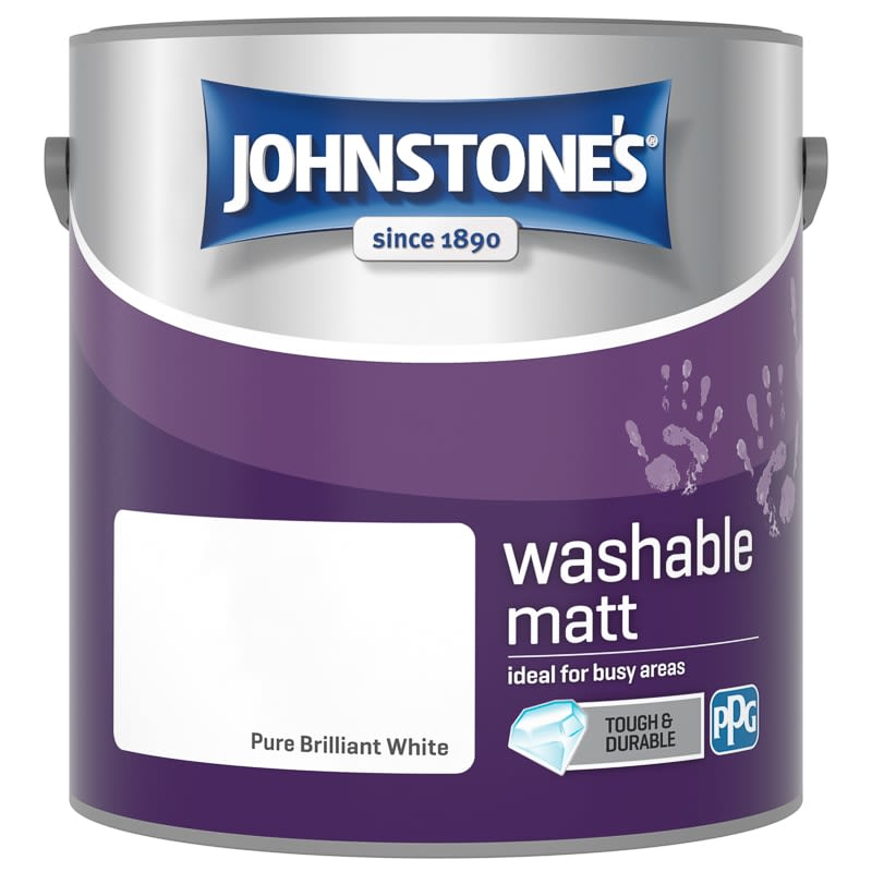 Johnstone's Washable Matt Paint - Brilliant White 2.5L