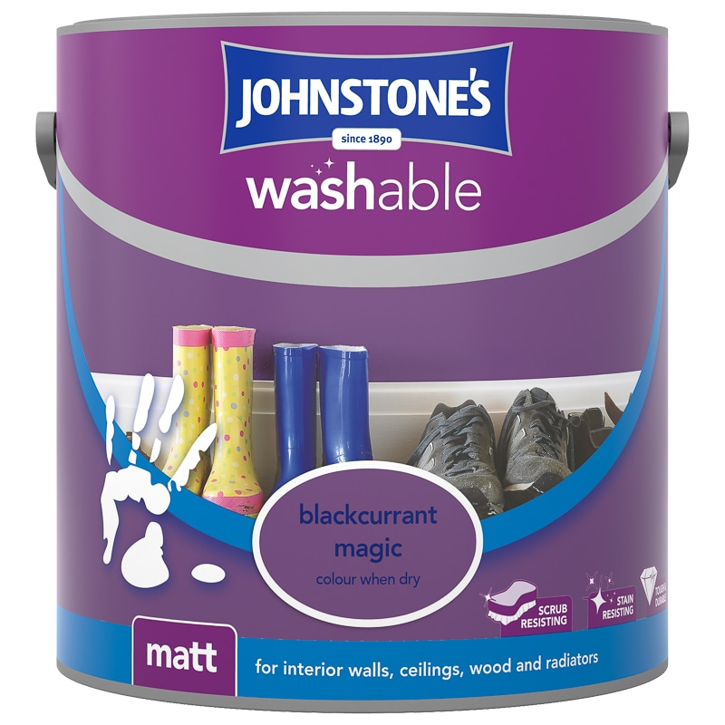 washable paint for wallsJohnstones Washable Matt Paint  Blackcurrant 25L  BM
