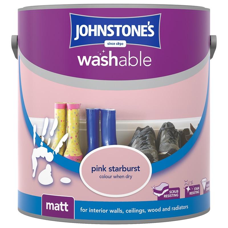 johnstone 39 s washable matt paint pink starburst 2 5l b m. Black Bedroom Furniture Sets. Home Design Ideas