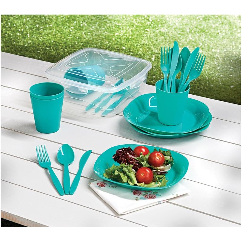 Picnic Dining Set 21pc - Green Picnic Essentials- B&M