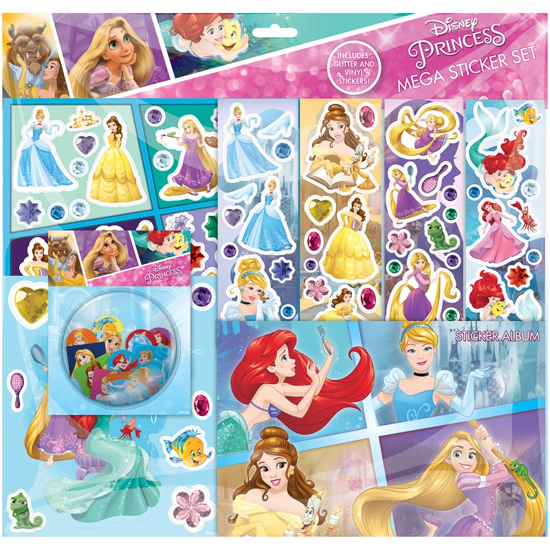 Disney Princess Mega Sticker Album Set Kids Crafts B Amp M