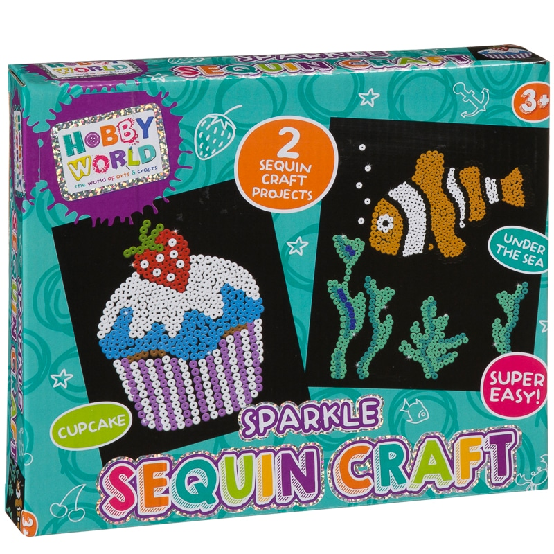 Hobby world sparkle sequin craft set kids crafts b m for Arts and crafts sets for toddlers