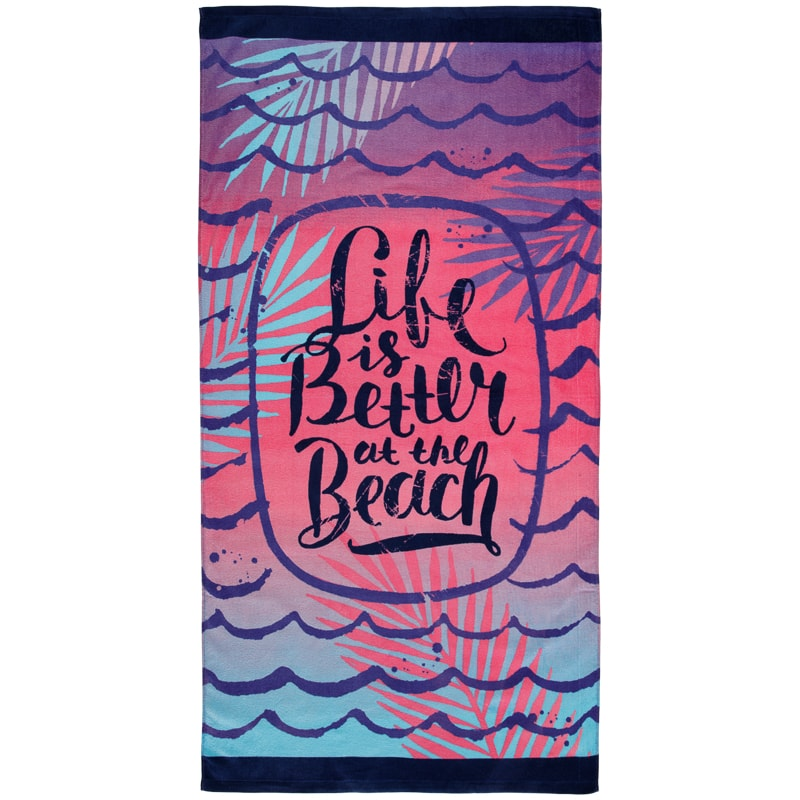 printed beach towel 75 x 150cm life is better at the beach
