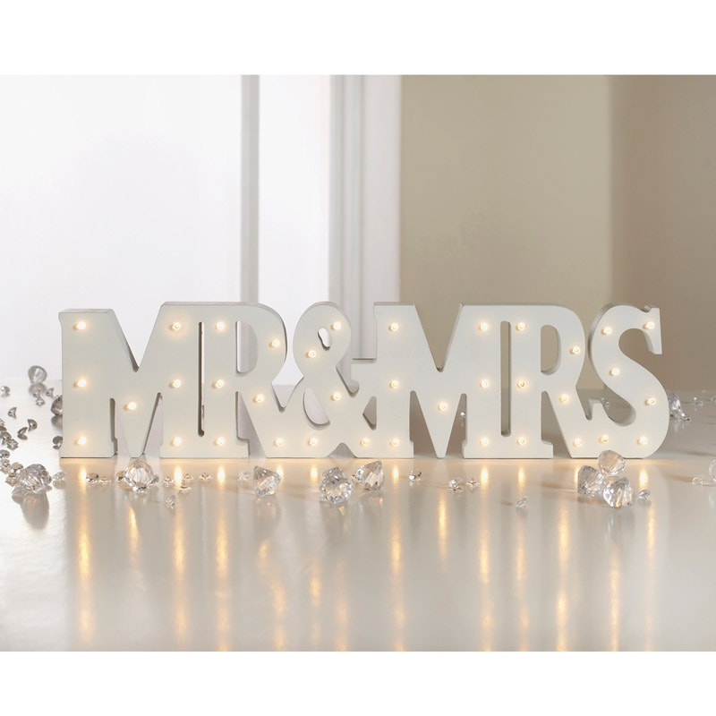 Mr & Mrs LED Light Up Words Wedding Gifts & Ideas - B&M