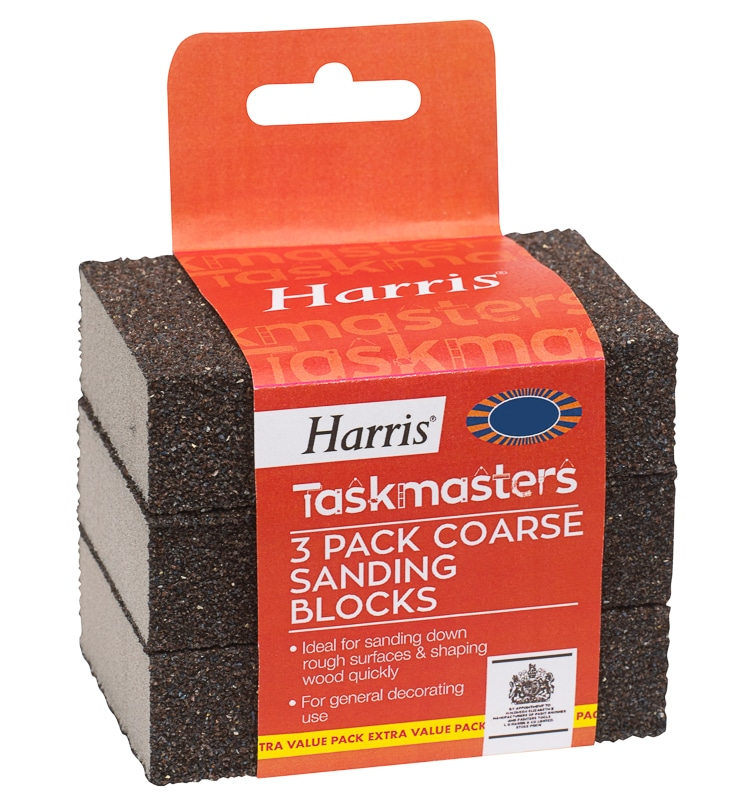 Harris Taskmasters Coarse Sanding Blocks 3pk