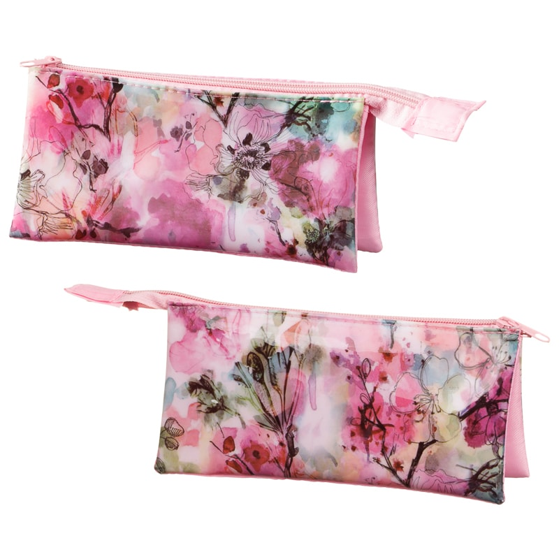 3 Pocket Fashion Pencil Case - Floral | Stationery - B&M
