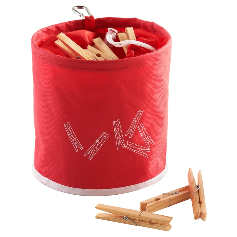 Peg Bag with 10 Wooden Pegs - Red