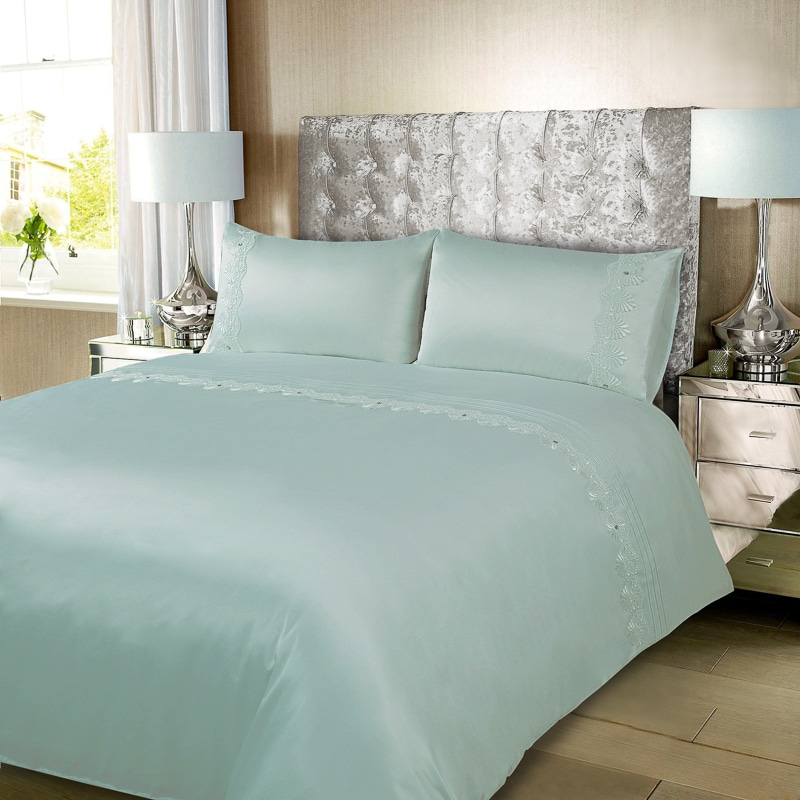 Charlotte Satin Lace Gem King Size Duvet Set Bedding B Amp M