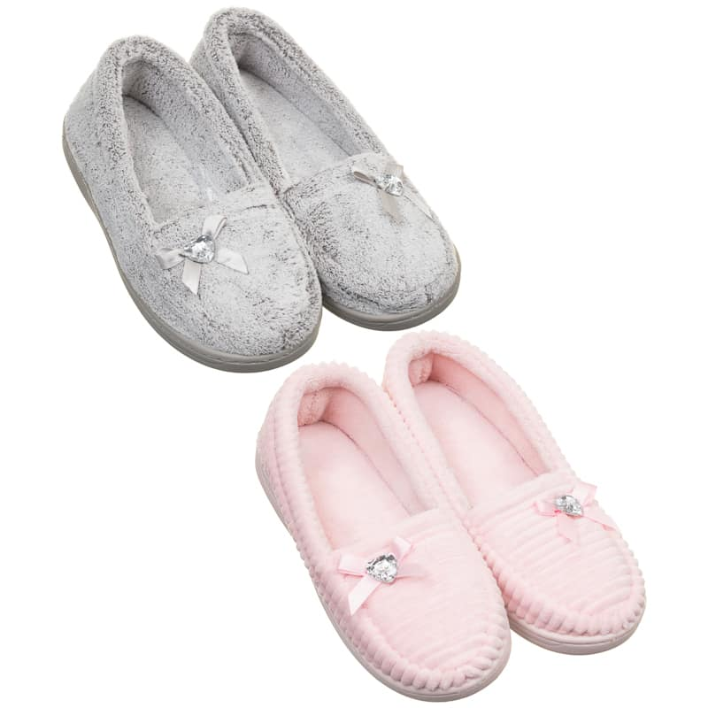 Ladies Memory Foam Slippers - Pink