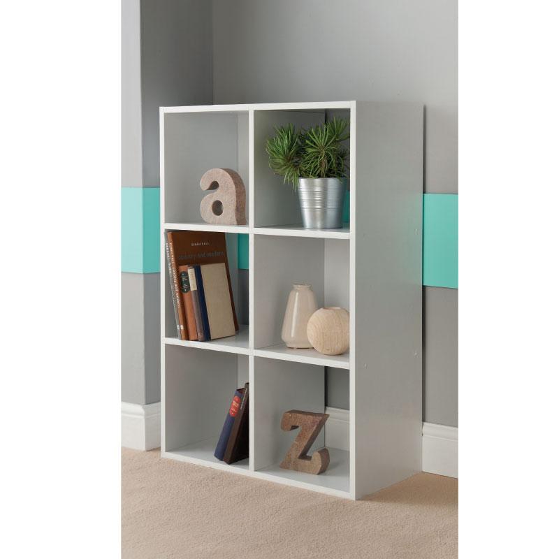 6 Cube Shelving Unit - White | Storage & Shelving - B&M