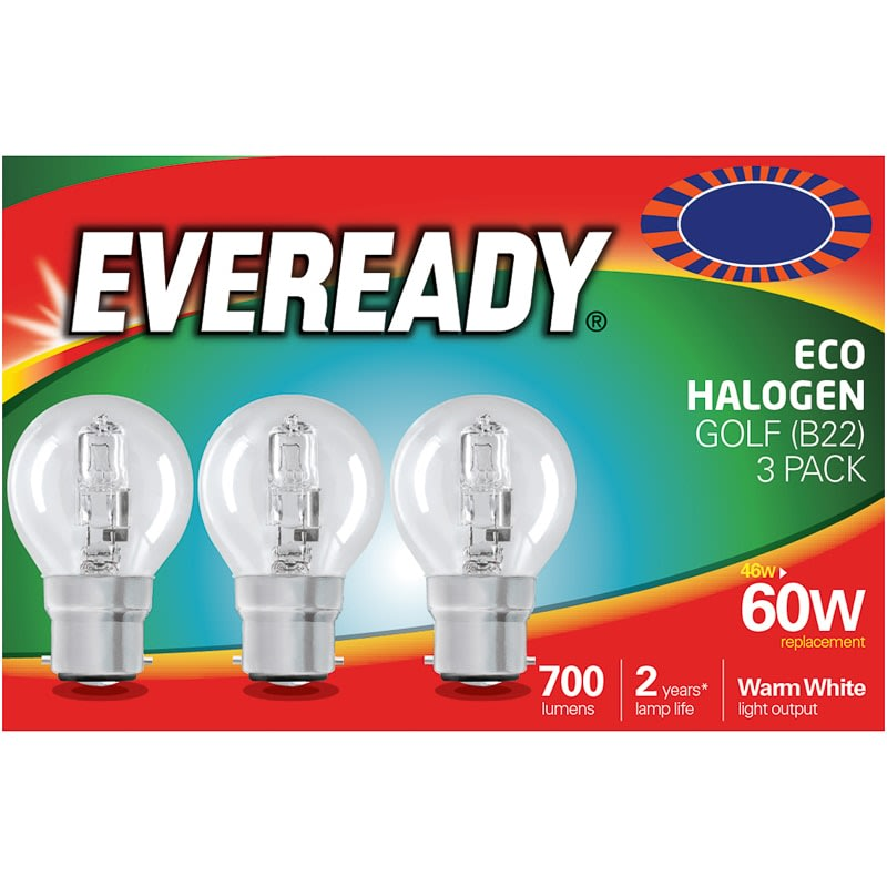 Eveready 60W B22 Golf Bulb 3pk
