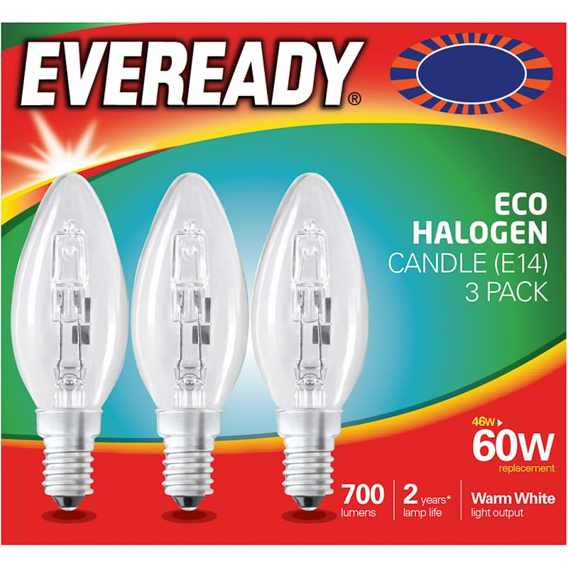 Eveready 60W E14 Candle Bulb 3pk
