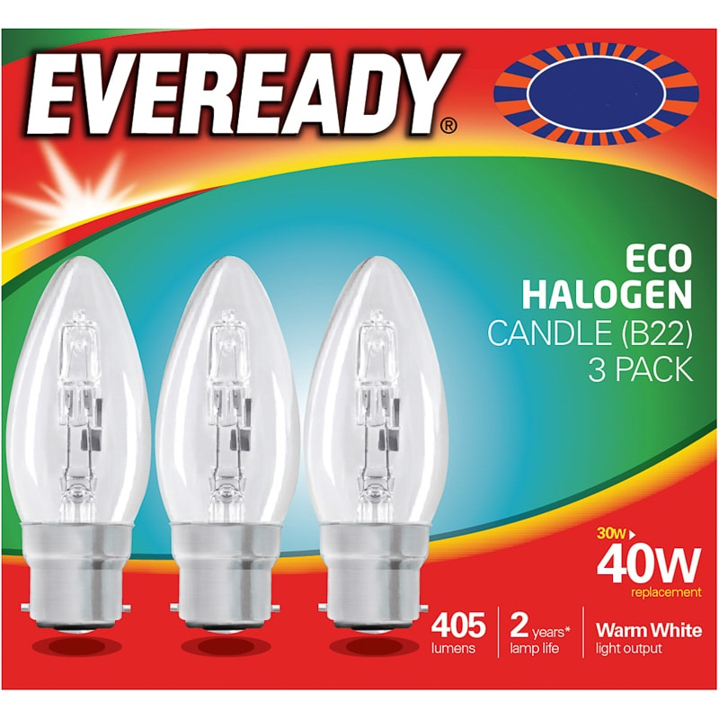 Eveready 40W B22 Candle Bulb 3pk