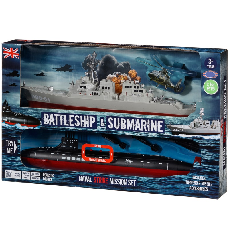 Battleship Amp Submarine 2pk Toy Boats B Amp M